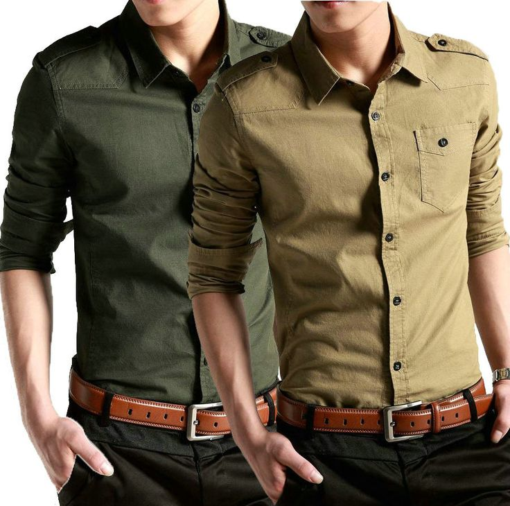 The new spring men's shirts Military style fashion Korean Slim shirt quality Men's or boys' jackets and high quality