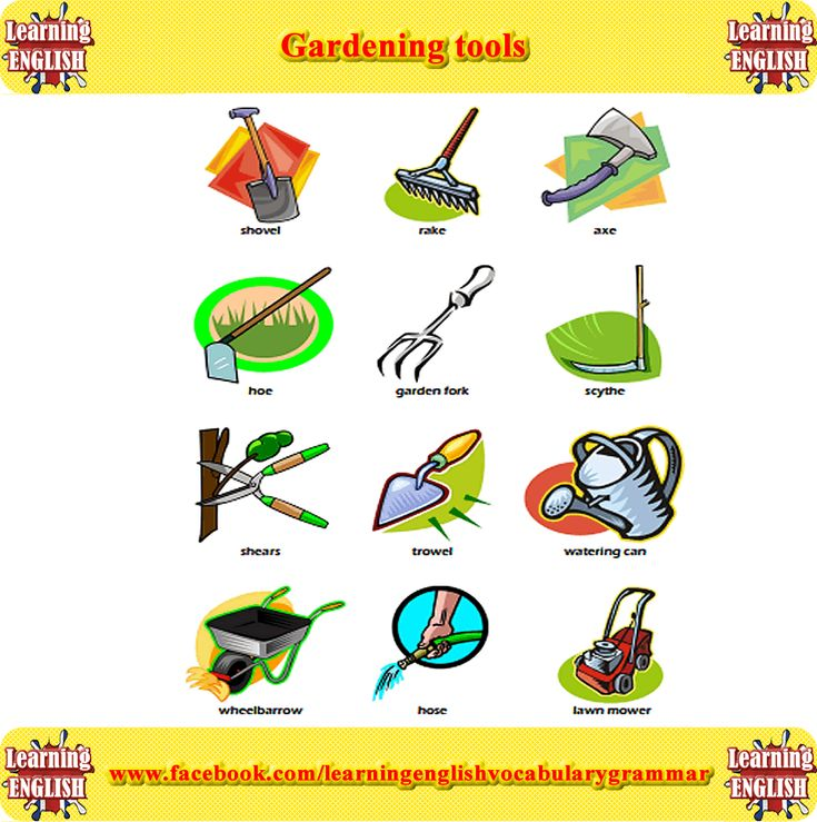1283 best images about learning english vocabulary and for Gardening tools vocabulary