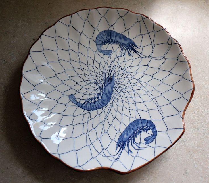 "Shrimp Blue Brown 12"" Plate ASAHI Japan Plate Dish Shell Seafood Nautical EUC"