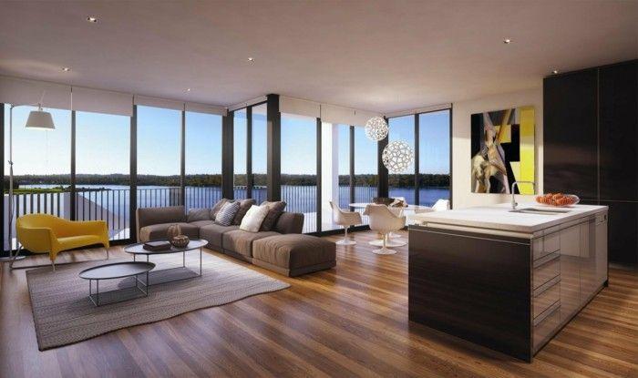minimalistisch wohnen schönes wohnzimmer offener wohnplan