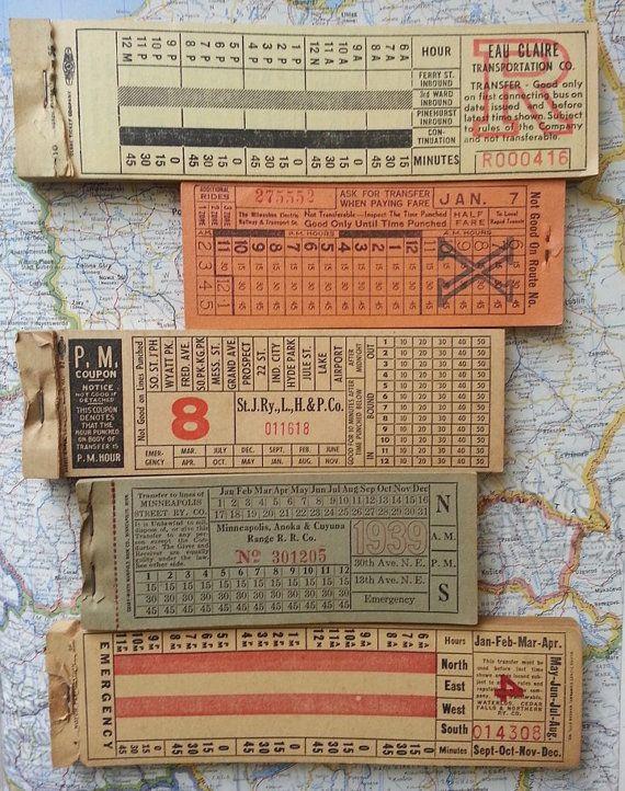 vintage giant tram trolleybus bus train tickets  5 by thriftypyg, $6.00