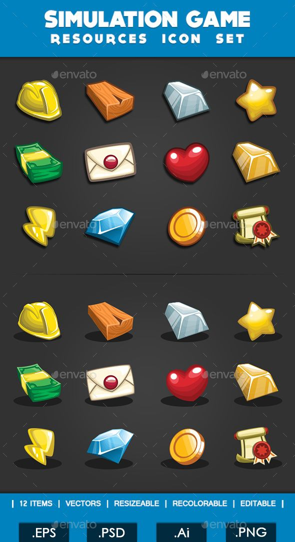 Simulation Game  Resources Icon Set — Photoshop PSD #energy #gold • Available here → https://graphicriver.net/item/simulation-game-resources-icon-set/14429442?ref=pxcr
