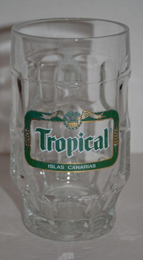 Tropical Islas Canarias Spanish Glass Beer Mug Rastal 1983 Bar Pub 0.25L #IslasCanariasSpanishBeer