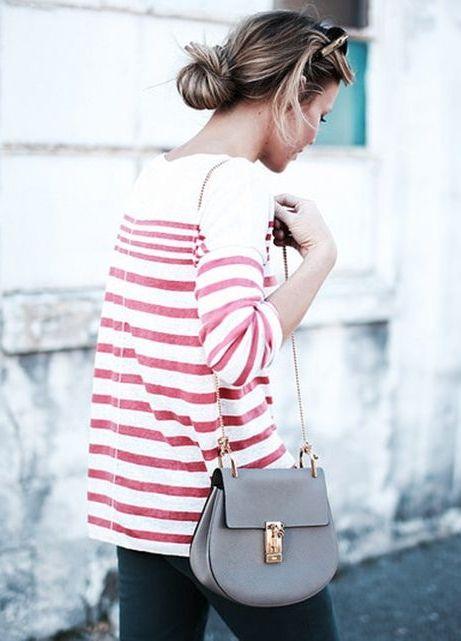 Red stripes + grey mini bag.