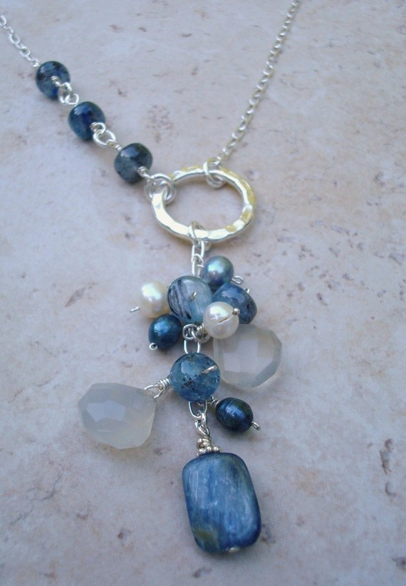 I love the kyanite with pearls and sterling! Moving Waters sterling silver necklace
