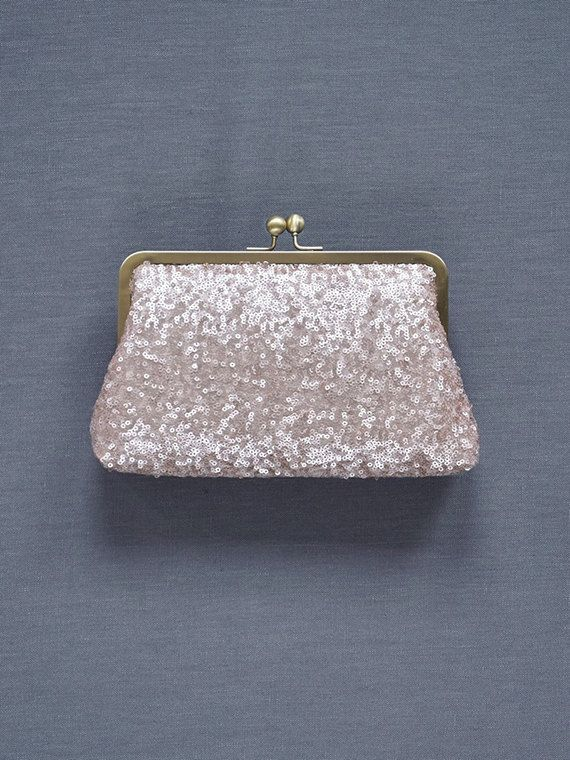 Rose Gold Sequin Clutch Blush Bridesmaid Clutch by DavieandChiyo
