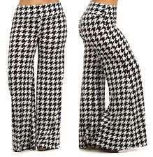 PLUS SIZE WHITE BLACK HOUNDSTOOTH HIGH WAIST WIDE LEG PALAZZO PANTS 1X 2X 3X