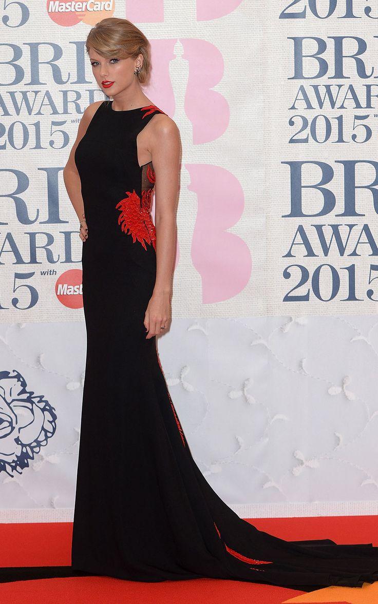 Taylor Swift Brits 2015 red carpet   Brit Awards arrivals and pictures   Harper's Bazaar