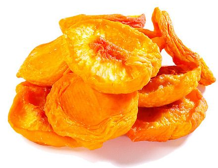 Dried Peaches:A serving of fresh peaches contains less than 1 mg of iron, but 10 dried peach halves contain 5.3 mg. Opting for dried fruit means you are getting more iron because a serving contains more fruit. Try adding dried peaches to your oatmeal to help prevent anemia, which occurs when your iron levels are low. http://www.livestrong.com/article/466680-fruits-containing-high-iron/