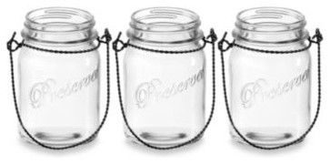 Home Essentials 6-Inch Vintage Mason Jar Candle Holders with Rope Handle (Set of contemporary-candleholders
