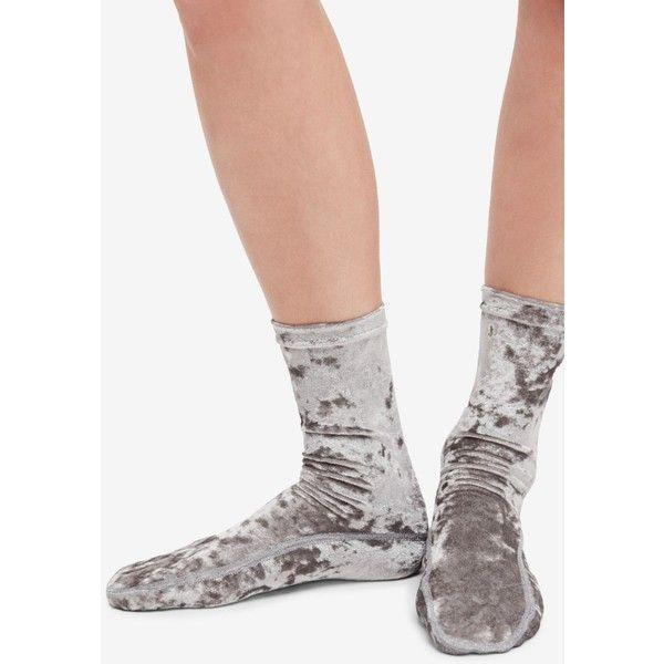 Free People Go Go Velvet Socks ($14) ❤ liked on Polyvore featuring intimates, hosiery, socks, silver, ankle length socks, free people socks, ankle high socks, velvet socks and ankle high hosiery