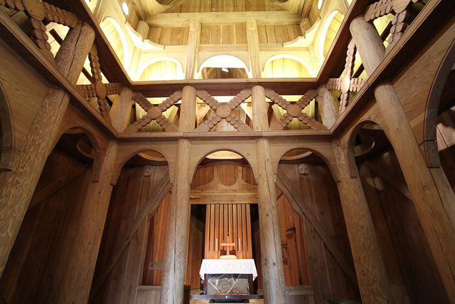 A beautiful inside view of the Chapel in the Hills in Rapid City South Dakota. This chapel is an exact replica of the Stave Church in Norway.