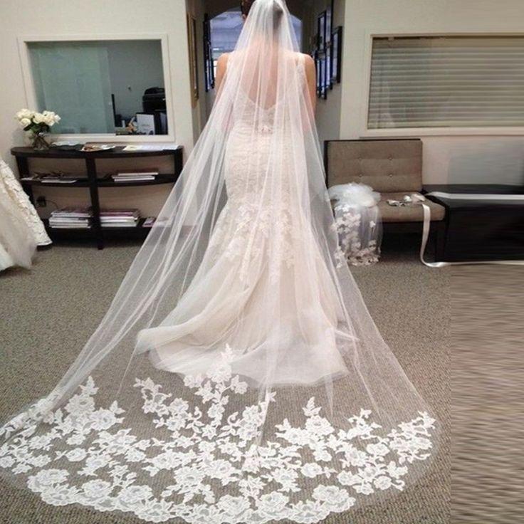 Vestido Noiva Casamento Hot Sale 2.6 Meter Long Tulle Wedding Accesories Lace Veil Bridal Veils White Wedding Veil With Bridal