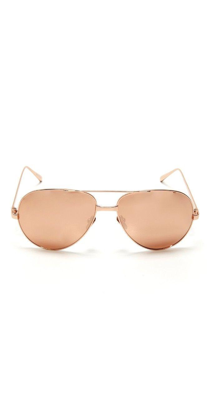 Linda Farrow Luxe 24k Rose Gold Sunglasses   SHOPBOP