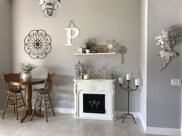 Alpaca Gray, Sherwin Williams the perfect mix of gray and beige!  Love my new colors!  With a little golden oak to warm up the area!