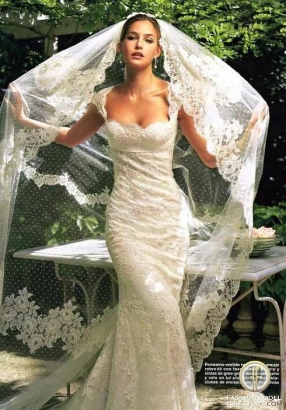 Lace Wedding Dress and Mantilla Veil