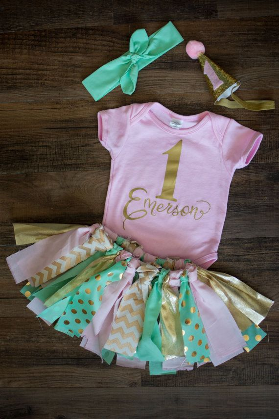 Pink and Mint First Birthday Outfit First Birthday Tutu Pink and Gold Girls Smash Cake Outfit Personalized 1st Birthday Vintage