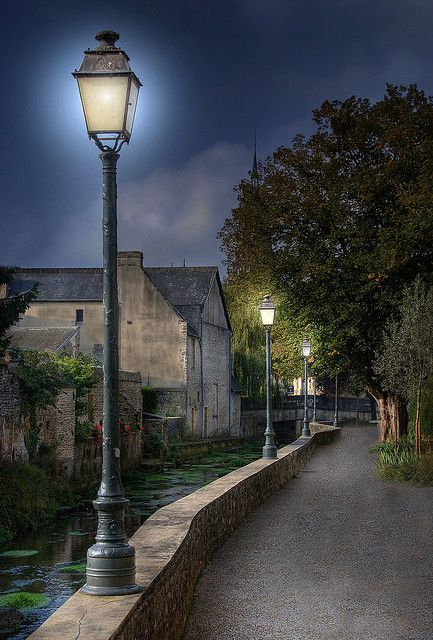 River Walk, Bayeux, France. It kinda looks like Dumbledore should pop up any moment with his Deluminator...(: <3