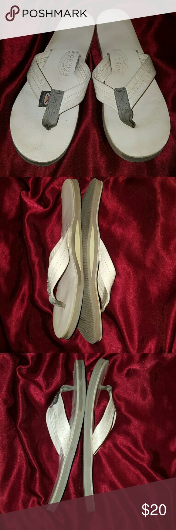 Rainbow white leather flip-flops ladies size 10 This is a pair of rainbow white leather ladies flip flops. They are a size 10. Pre-owned but still in great shape. Rainbow Shoes