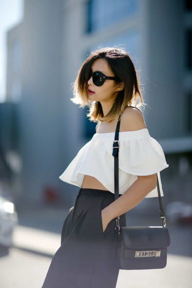 ps11-off-shoulder-top-culottes-slides-streetstyle Seed Heritage, Proenza Schouler  Beige Renegade