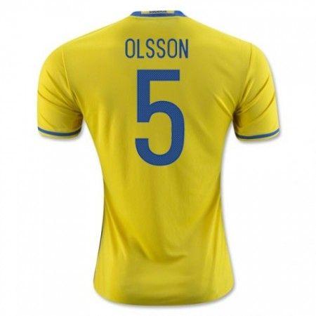 Sverige 2016 Olsson 5 Hjemmedrakt Kortermet.  http://www.fotballpanett.com/sverige-2016-olsson-5-hjemmedrakt-kortermet.  #fotballdrakter