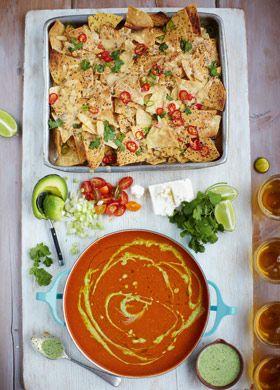 Mexican tomato soup, chilli nachos, veggie & feta sprinkles- Jamie Oliver 15 minute meals
