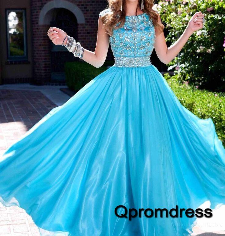 Beautiful scoop neck crysta beaded blue chiffon long poofy prom dress, homecoming dress 2016 #coniefox