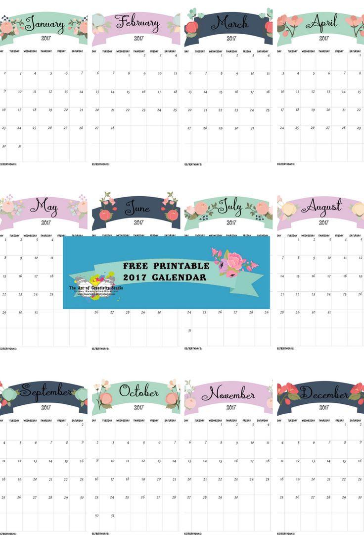 Free 2017 Calendar from The Art of Creativity Studio
