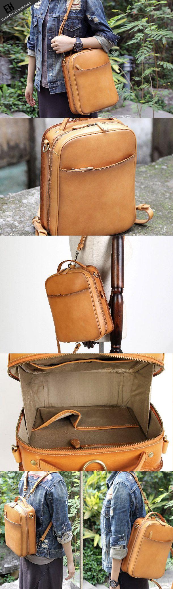 Handmade vintage satchel leather normal messenger bag beige shoulder bag for women