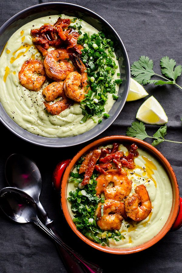Chilled avocado bisque made dairy free with coconut milk, avocado and smoky paprika shrimp. 10 minutes to make avocado soup and is perfect cold summer soup recipe. | http://ifoodreal.com
