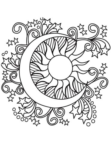 Sun And Moon Coloring Pages Pop Art Sun Moon And Stars