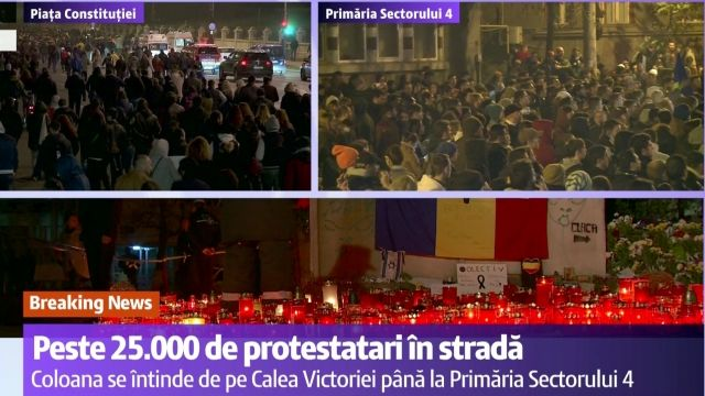 PROTEST in BUCURESTI - EFECTUL COLECTIV - JOS PONTA, JOS OPREA, JOS PIEDONE! Peste 25.000 de oameni in strada