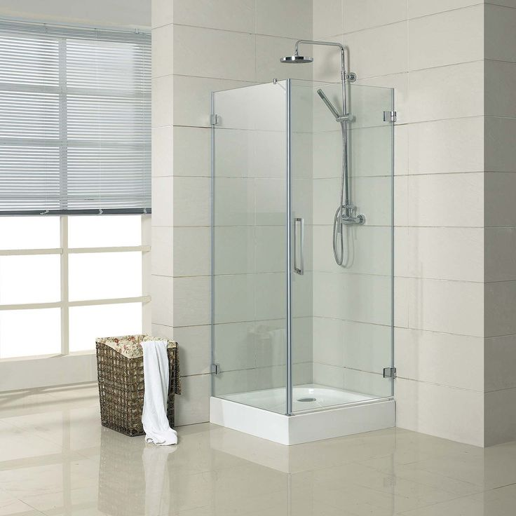 """32"""" x 32"""" Jannu Square Shower Enclosure - with Tray - Right Hand Door - Brushed Aluminum"""