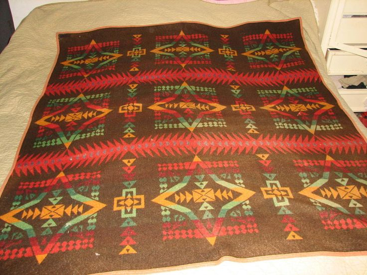 Vintage Pendleton Blanket Indian Camp Blanket Design Old