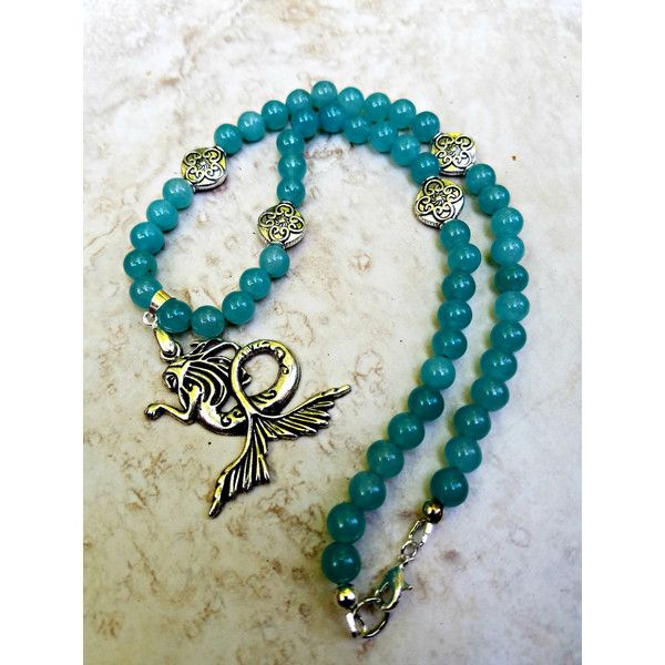 Teal Blue Mermaid Necklace, Summer Jewelry, Gifts for Her, Summer... ($29) ❤ liked on Polyvore featuring jewelry, necklaces, etsyfru, beading necklaces, summer necklace, beachy necklaces, teal necklace and beaded jewelry