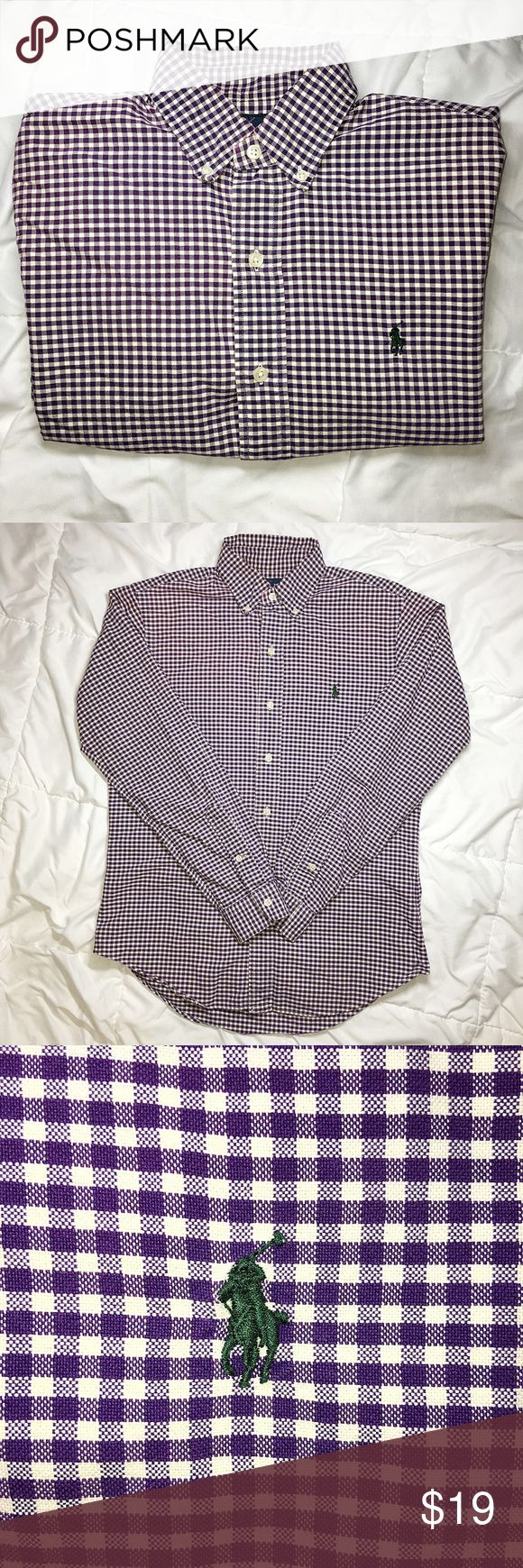 Men's Polo Ralph Lauren Plaid Button Down Purple/off-white. Green horse. Ralph Lauren labeling through-out. Purchased from Ralph Lauren Factory Store. (Great condition) Polo by Ralph Lauren Shirts Casual Button Down Shirts