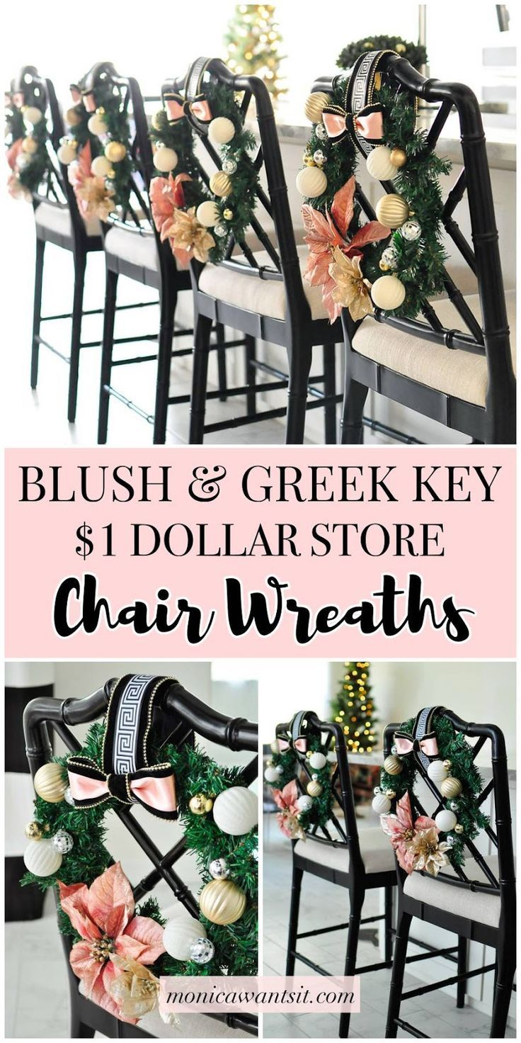 Diy Chair Wreaths Dollar Store Craft Idea To Decorate Chairs Or Stools For The Christmas Hol Christmas Decor Diy Chritmas Decorations Affordable Holiday Decor