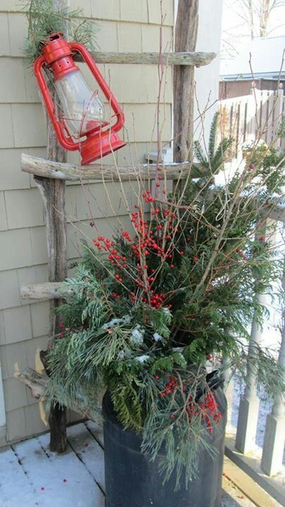 Red Lantern and Rustic Ladder with the Evergreen Planter - great staging effect for a Christmas front porch