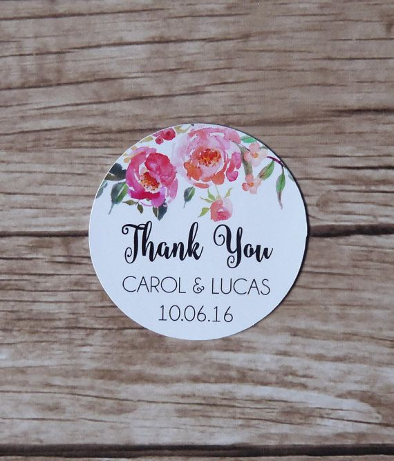 Set of 15 personalised floral thank you stickers wedding envelope seal favour tag favour box bridal shower birthday sticker