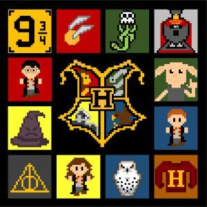 Harry Potter CAL (crochet-A-Long) to make this amazing blanket. Free on the Two Hearts Crochet blog!