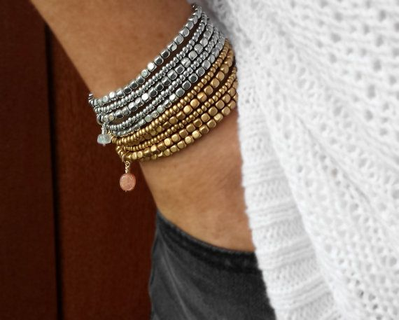 Liquid Metal Stack Bracelets Silver or Gold or by NonaDesigns
