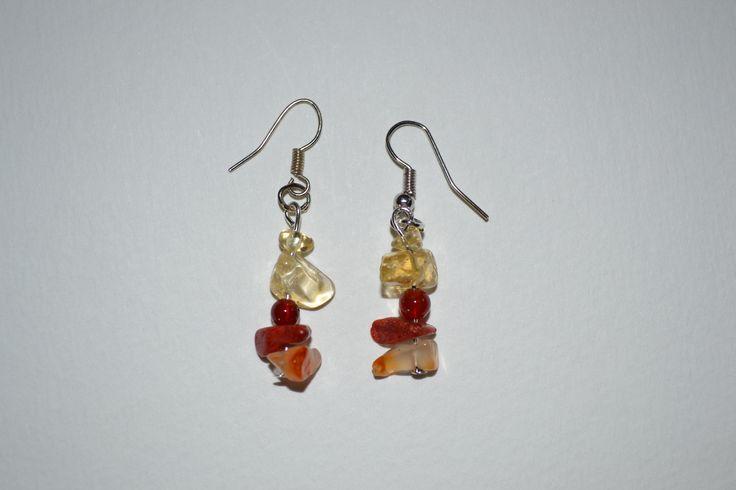 Boucles d'oreilles en citrine et cornaline. Opale Isis, Christine Monsion