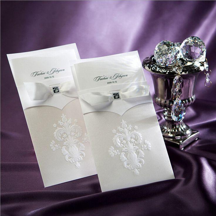 purple white silver wedding invitations%0A Vertical White Floral with Bowknot Wedding Invitation Customizable      Pcs Lot B