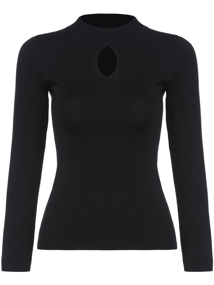 Black Stand Collar Hollow Slim Knitwear 16.14