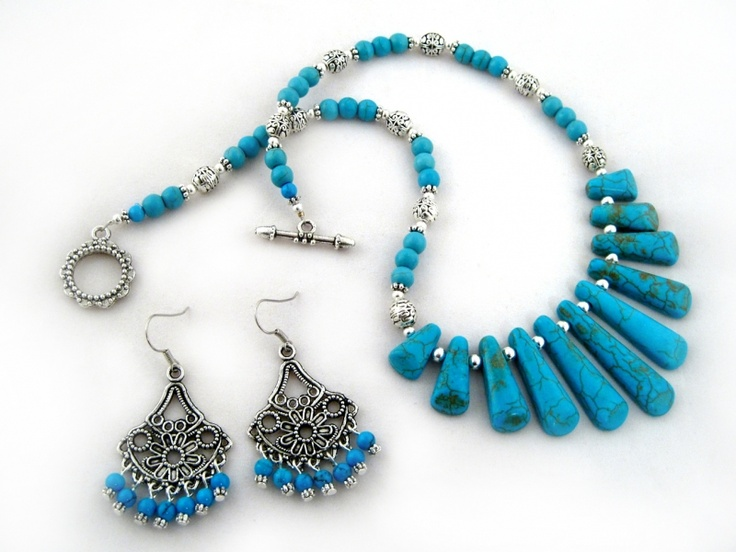 Tealia Set $33.00  Ladies handmade blue turquoise necklace,  and earrings set  Turquoise Howlite, and Tibet silver are combined together for a stylish look. The necklace is strung onto tigers tail wire for strength, durability and drape. Finished off with an ornamental toggle clasp. The earrings are strung onto silver plated wire.