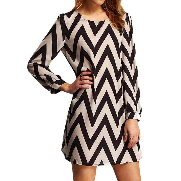 Charlee Cooper Sexy Long Sleeved Zig Zag Print Mini Dress - 4 Colours