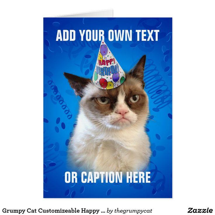 Tarjeta de Cumpleaños personalizable del gato gruñón feliz