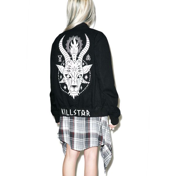 Killstar Horny Denim Bomber ($115) ❤ liked on Polyvore featuring outerwear, jackets, flight bomber jacket, bomber jacket, blouson jacket, patch jacket and denim jacket