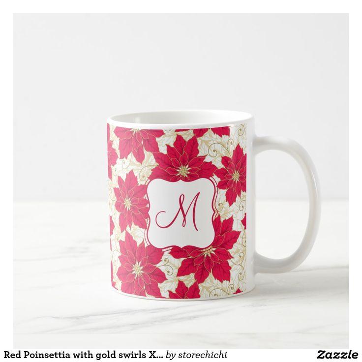 Red Poinsettia with gold swirls Xmas monogram