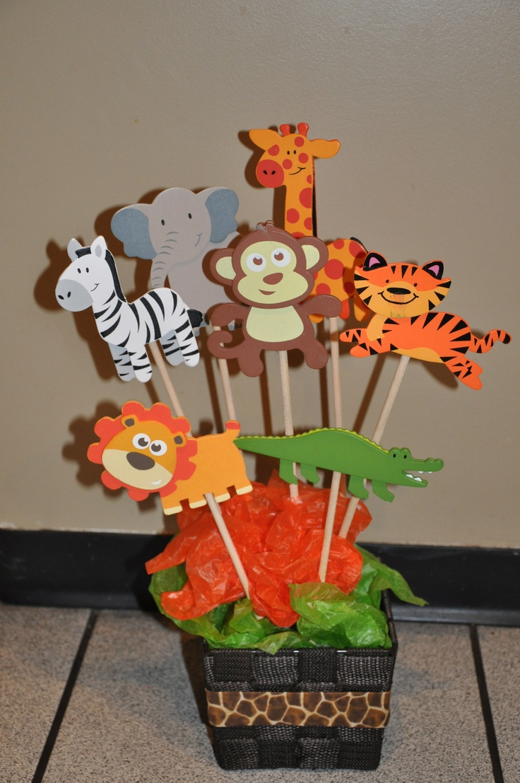 table centre piece for my son 39 s jungle themed 1st birthday. Black Bedroom Furniture Sets. Home Design Ideas